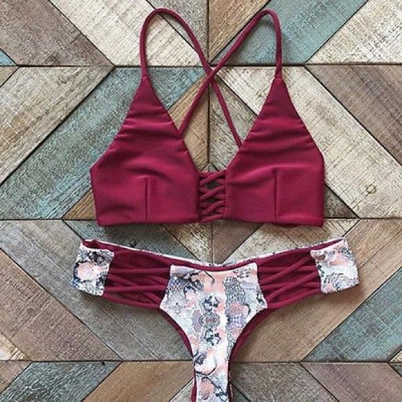Beach Bum New York Swim Bikini Maroon Red Tumblr Top And