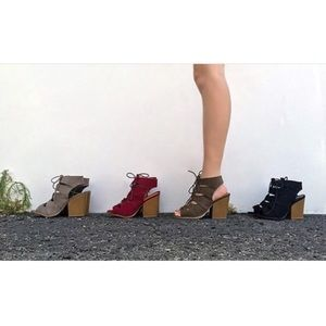 Shoes - Khaki bootie lace up block heel booties 1 LEFT!!!