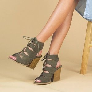 Shoes - NWT. Khaki booty lace ups