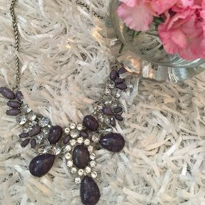 Purple and rhinestone statement necklace