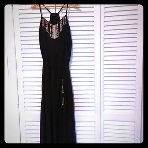 Zara Beaded Navy Blue Maxi Dress