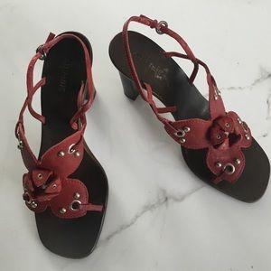 Miu Miu red floral sandal heels