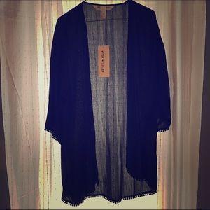 Sweaters - H&M Coachella Collection black poncho/cardi/shrug
