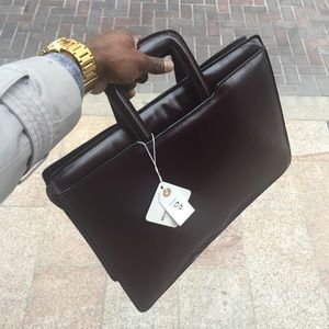 Men's Vegetable Leather Briefcase Portfolio 16.5""