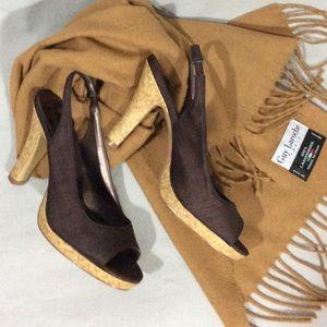 Unlisted Shoes - 🍁 Unlisted Chocolate Brown Cork Peep Toe Heels