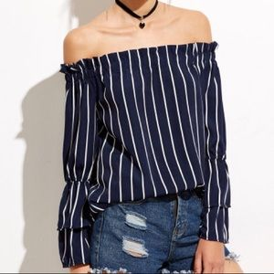 Tops - Navy Striped Off The Shoulder Top