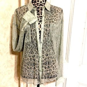 Free People Lace Button Down Top-Mint Green-size S