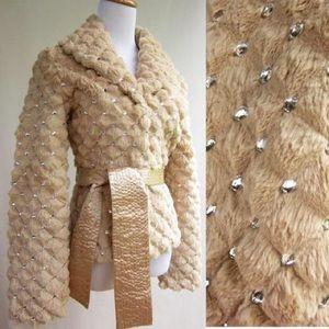 Jackets & Blazers - Rabbit Fur Jacket With Crystals