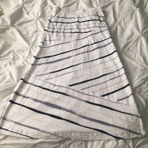 Express White, Tan, and Gray Striped Maxi Skirt