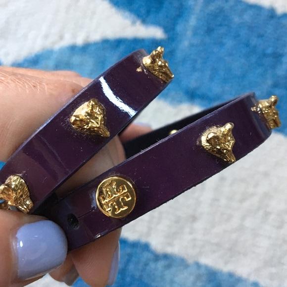 Tory Burch Jewelry - Purple Patent Leather Tory Butch Wrap Bracelet