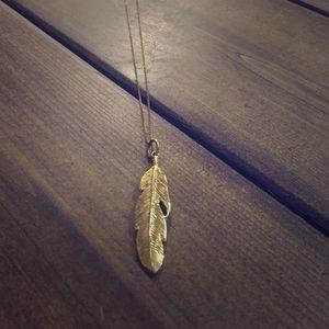 Gold Vermeil Feather Necklace