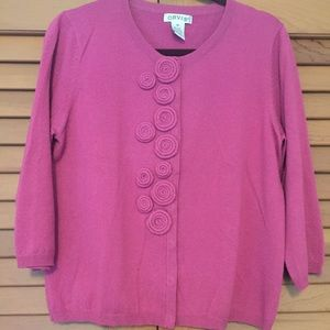 Orvis Sweaters - Orvis Pink Cardigan w/large rosette detail