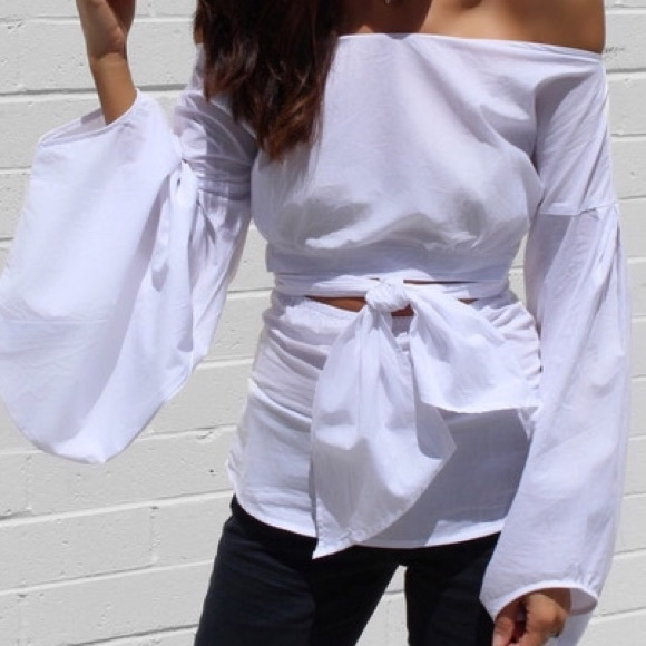 Tops - White Puff Sleeve Self Tie Off the Shoulder Top