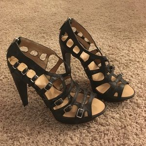 Black lamb strappy heels