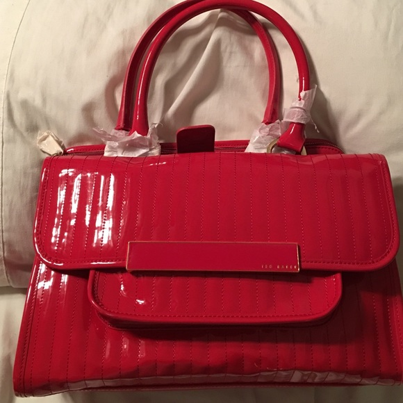 5d84f1dbdb248d Ted Baker Enamel Flap Pocket Tote Bag Red