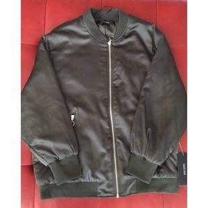 ZARA Olive green satin bomber jacket