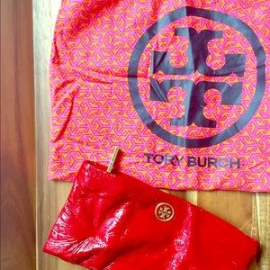 Tory Burch patent red wallet/clutch