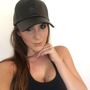 Accessories - Black Leather Baseball Cap
