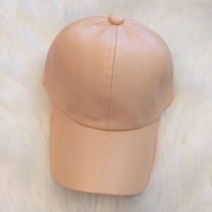 Accessories - Beige Leather Baseball Cap LAST ONE