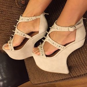 Jeffrey Campbell Shoes - Jeffrey Campbell Nude Suede Silver Spiked Wedges