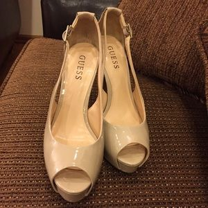Guess Shoes - Guess Nude Slingback Platform Sandals