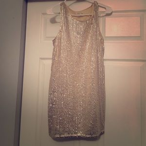 Champagne and silver cocktail dress