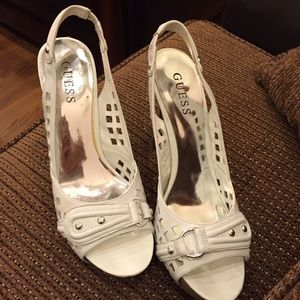 Guess Shoes - Guess White Leather Slingback Sandals Heels