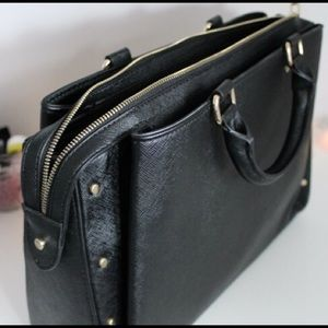 Zara Studded City Bag in Black with Gold