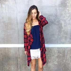 Sweaters - plaid cardigan