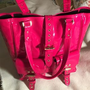 Mulberry pink patent leather tote bag