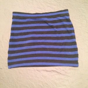 forever 21 black and blue striped mini skirt from