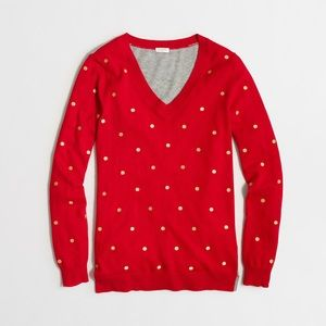 J Crew Factory embroidered dot tunic sweater NWT