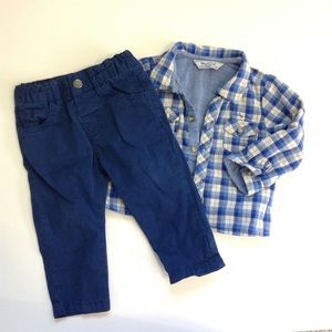 Mayoral Other - 6-9M - Checkered Shirt & Pants