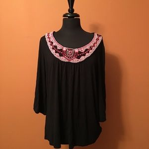 Jersey blouse with bead embellished neckline