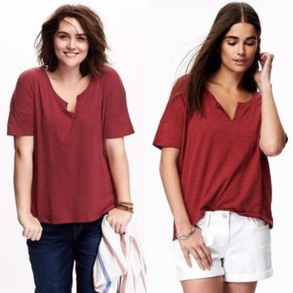 0249b5ee Old Navy Tops | Rust Slub Knit Split Neck Boyfriend Tee Xxl Tall ...