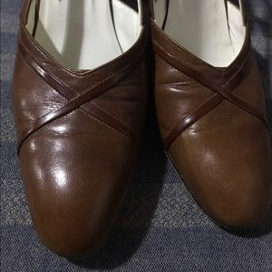 Bally genuine tan leather sling back shoe