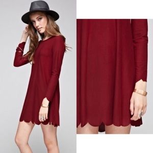 Burgundy Scalloped Hem Dress
