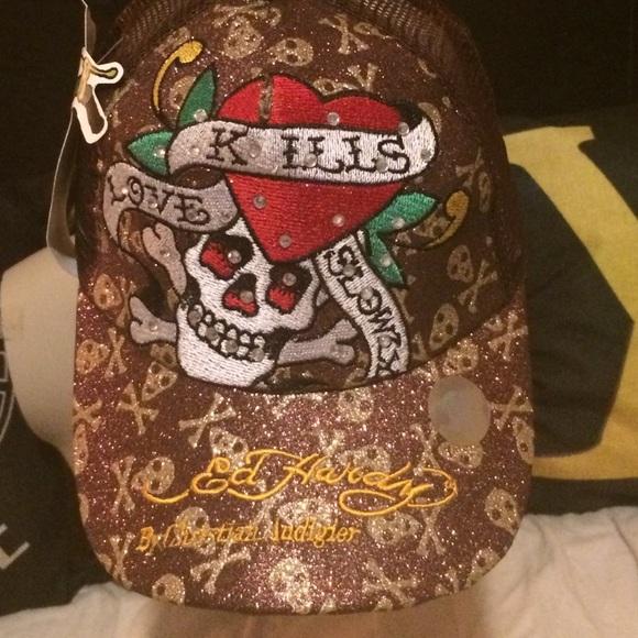 NWT Vintage Ed Hardy trucker hat brown 09109205b1b6