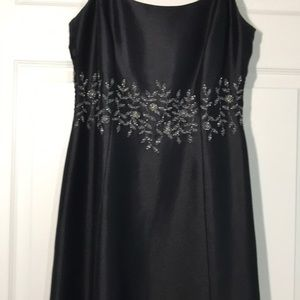 Elegant satin Ann Taylor black dress