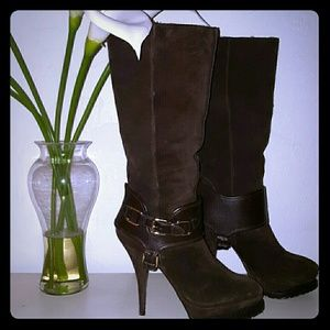 Elizabeth and James knee high suede stiletto boot