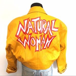 Vintage Jackets & Blazers - HOLD Vintage Leather Natural Woman Bomber