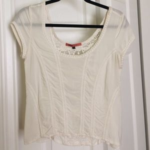 Bershka Tops - Off-white top with lace detailing
