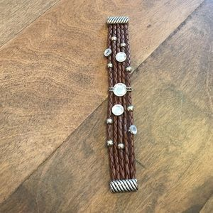 Jewelry - Leather/metal/gem stone bracelet