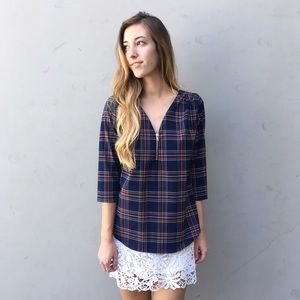 plaid zipper blouse