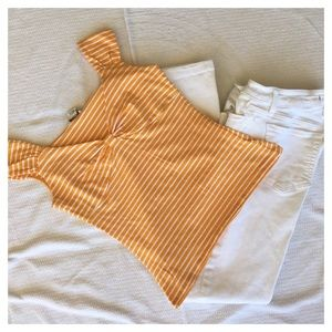 Michael Kors orange striped top size Sm