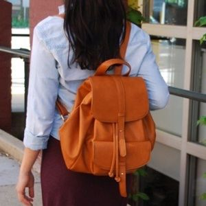Sole Society double flap faux leather backpack.