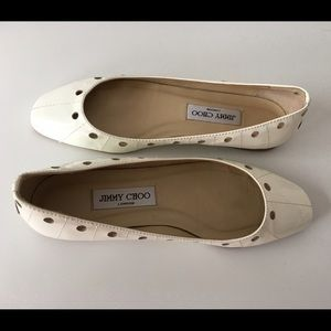 Jimmy Choo Shoes - JIMMY CHOO LIGHT CREAM PAT LEATHER PERFORATED FLAT