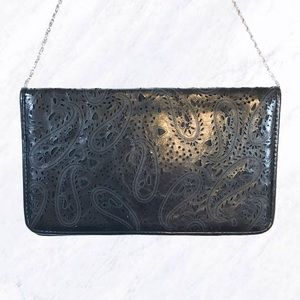 Laser Cut Pattern Black Crossbody Clutch