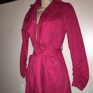 SALE Fuchsia Pink Coat with Ruched Sleeves