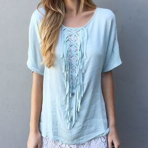 LAST ITEM mint fringe top